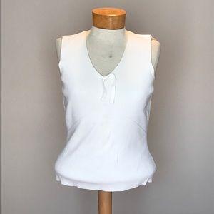 Ann Taylor white knit tank top. Size Large